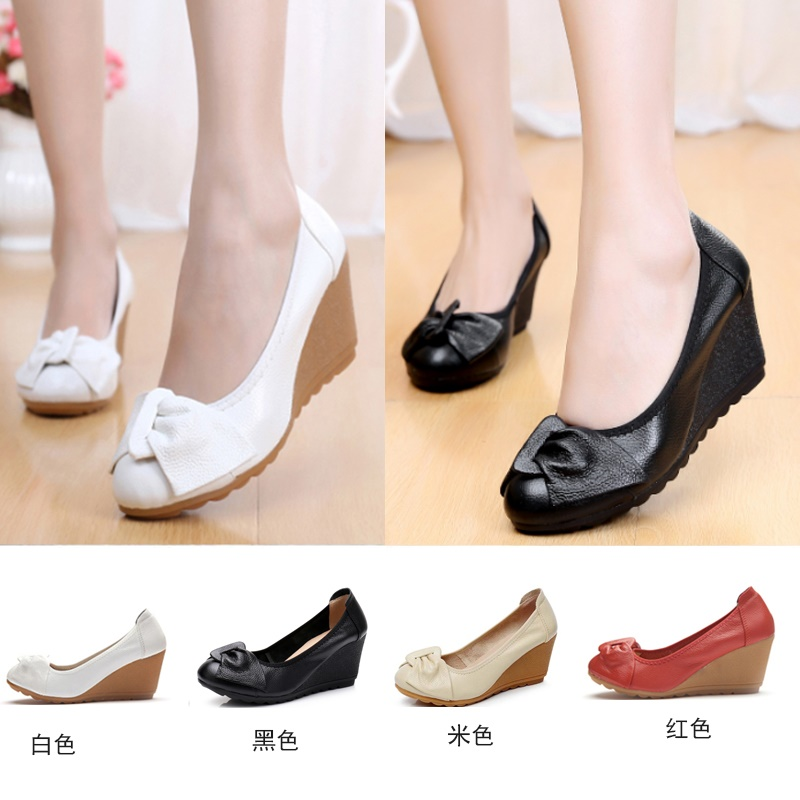 Creative spring and autumn style leather slope single shoes womens sweet bow mothers shoes high heel leather shoes cow tendon sole soft sole worker