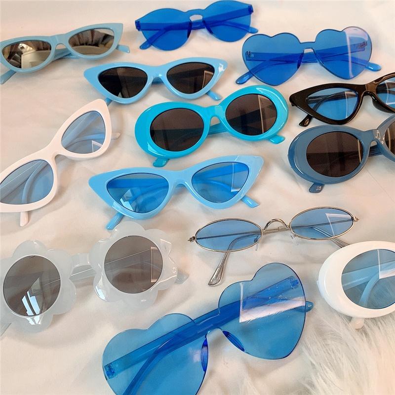 欧侣情美a墨镜眼镜霹雳系三角沙太阳镜蹦迪圆形拍照蓝复雕色古猫