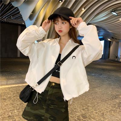 Ins college handsome long sleeve short coat women BF short jacket baseball uniform sweater fashion with overalls cool