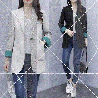 大码女装韩版秋装小西装2019年新款宽松洋气胖妹妹中长款西服外套