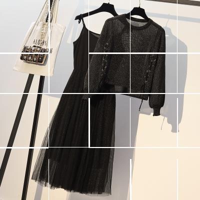 大码女装200斤秋款两件套胖妹妹洋气显瘦套装减龄冬装时髦连衣裙