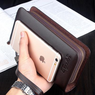 Classic Brown decoration portable soft leather bag with two fold leather bag practical wallet for mans money
