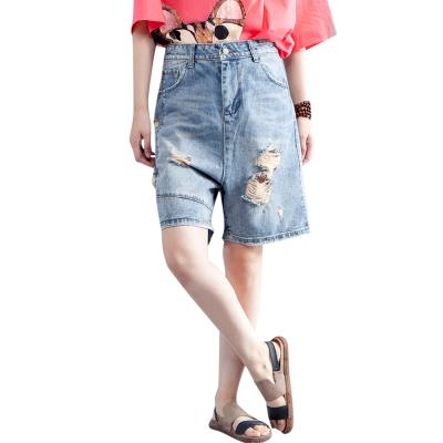 Large size womens summer wear hole denim shorts women loose thin fashion versatile student wide leg pants