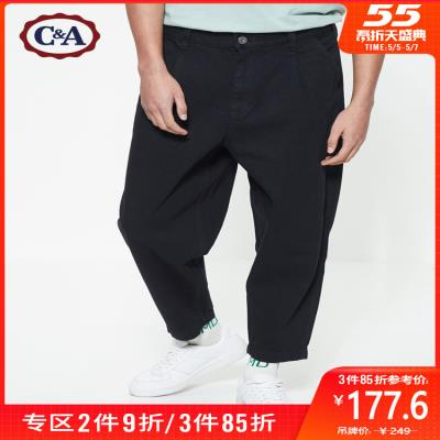 Loose tapered retro overalls dad pants mens 2020 spring black cropped jeans ca200225980