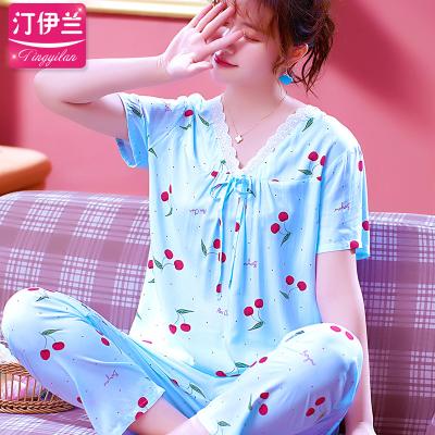 汀伊兰樱桃可爱夏季睡衣女薄款棉绸短袖长裤套装绵绸家居服人造棉