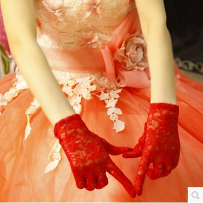 Wedding dress show finger gauze etiquette cycling Wedding Dress Gloves Lace dual-purpose Accessories five finger embroidery bride sexy