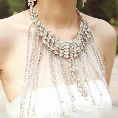 High end fashion jewelry performance decoration Bridal Necklace bridal crown versatile stage performance shoulder chain