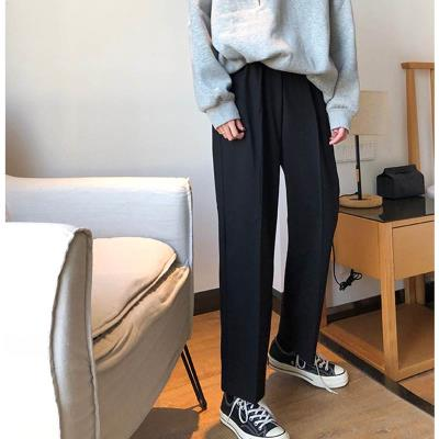 Oversized spring and autumn fall feeling wide leg pants women fat mm casual suit pants 200kg loose Capris CEC