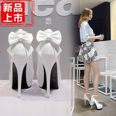 婚鞋粉色高跟鞋细跟秋冬成年礼单鞋中跟鞋水钻白色圆头婚纱照女鞋