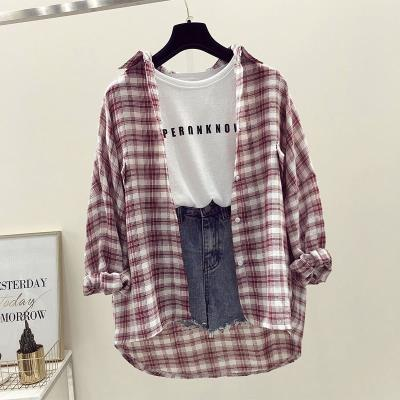 Womens Korean neckline with Lapel spring dress playful college students horizontal leisure with autumn Plaid Shirt