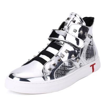 High fashion shoes bright Short Boots Mens shoes silver high waist shoes rivet all black shoelace hairdresser leather shoes man