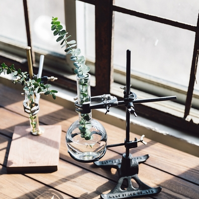 Antique industrial glass flasks vase metal flower rack hydroponic ware hand made coffee rack home decoration