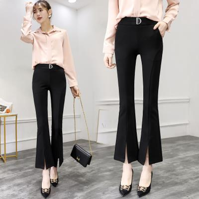Middle flared pants womens 9 / 19 spring and autumn new style wide leg high waist black thin split leisure thin style high