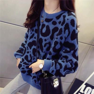 Loose sweater womens Pullover lazy pink sweet leopard South Korea spring 2019 new thickened Crew Neck Long Sleeve women