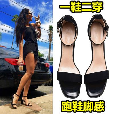 Leather one button sandals 2020 new womens high heels thick heel summer middle heel open toe net red versatile bandage