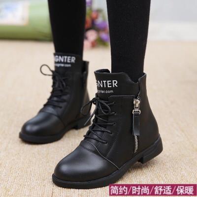 秋冬季马丁靴中大童保暖棉鞋加厚可爱加绒女童雪地靴新款皮鞋儿童