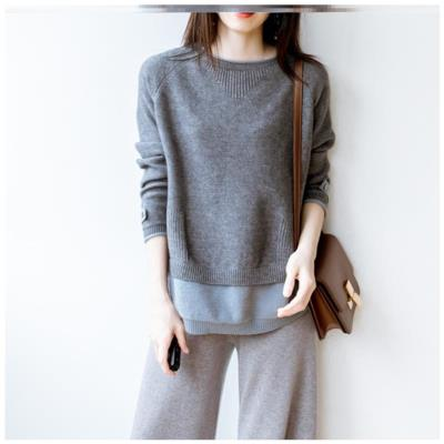 Loose sweater female Pullover Slouchy large Hong Kong style sweater female outer wear student ins irregular sweater female versatile