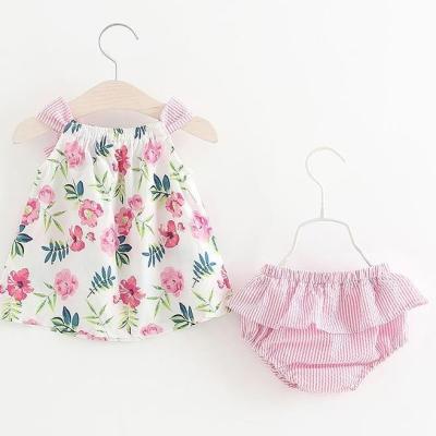 女宝小清新夏无袖吊带连体裙小内裤两件套小公主肩带小裙子面包裤