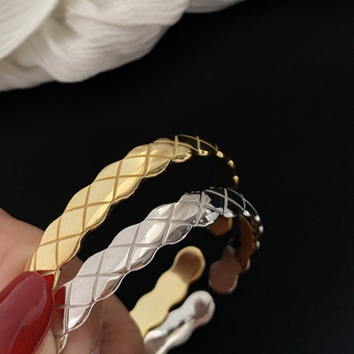 S925 silver geometric design sense: a small number of open girlfriends Bracelet female hand jewelry cool wind net red personality