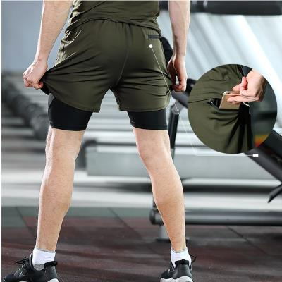 Summer new two-piece fitness shorts mens large fast-moving belt sports pants double-layer running basketball training pants