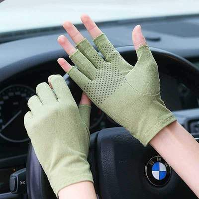 Drivers special driving gloves: non slip, sweat absorbing and breathable mens driving fingers are soft, riding is thin and half of commuting is thin
