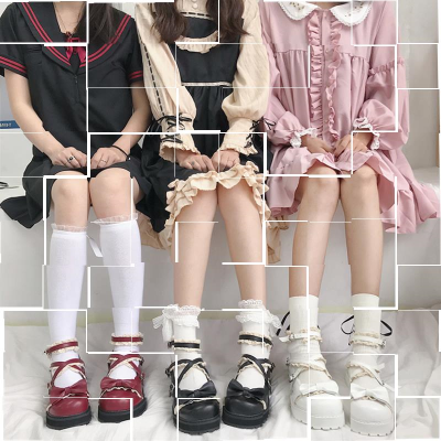Star wish song Lolita shoes shoes women Japanese Lolita little Merlot British style with skirt JK uniform shoes.