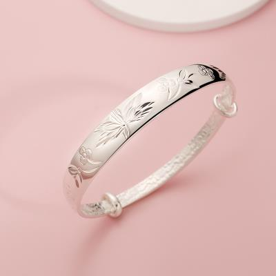 high-grade silver age blooming flowers S999 solid pure temperament of fine silver hand bracelet accessories to send mother mother Laos
