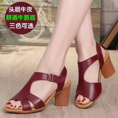Creative 2020 sandals woman summer middle heel thick heel fish mouth soft bottom high heel ox tendon bottom Velcro middle aged mother