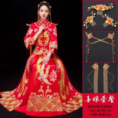秀禾服新娘2019新款结婚礼服中式婚纱敬酒服孕妇秀和服古代嫁衣红