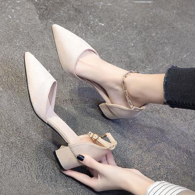 Womens shoes with one belt new Mid Heel thick heel pointed high heel shoes in spring and summer 2020