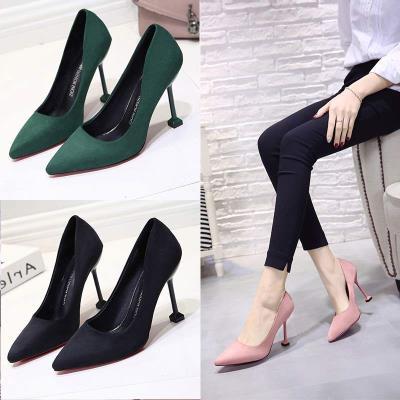 黑色女鞋绒面尖头10cm细跟中跟高跟鞋2019新款磨砂工作鞋猫跟单鞋