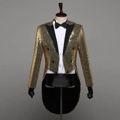 New new tuxedo mens sequins stage performance dress magician coat nightclub bar host chorus Guide