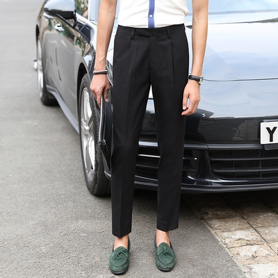 Trousers mens slim casual business dress straight tube easy wear grey suit pants mens new casual pants