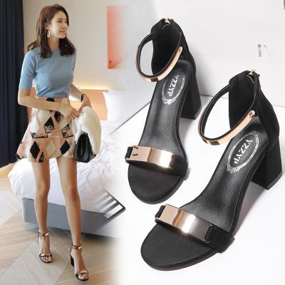 凉鞋女中跟粗跟2020新款夏季女鞋一字带高跟鞋仙女风罗马鞋ins潮