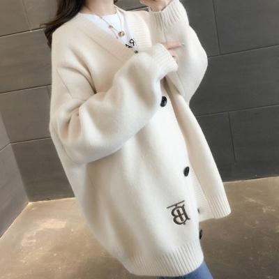 2019秋冬新款韩版大码女装加厚宽松开衫胖妹妹学生针织毛衣外套潮