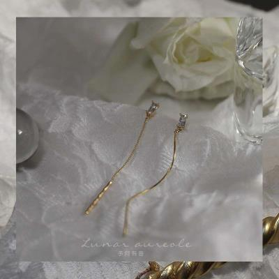 Yu Yue you Yin / simple zircon wave line French temperament long thin earrings and Earrings
