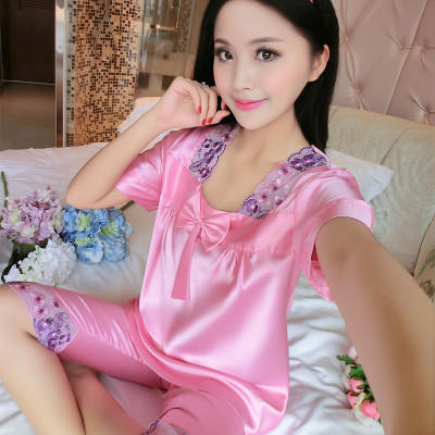 Large size pajamas womens cotton ice silk short sleeve pants hot summer split sleeping home clothes 2XL simple leisure