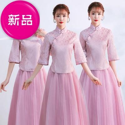 中式伴22娘服女长款优雅复古姐妹团礼服裙2019新款中国风旗袍晚礼