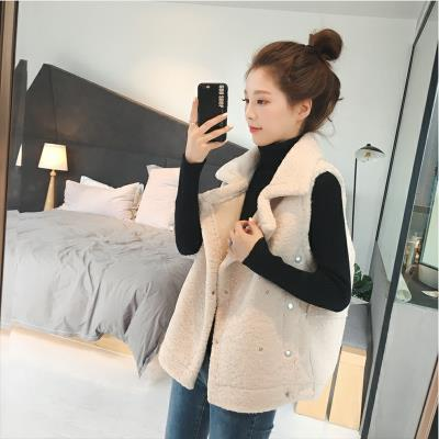 Fur one vest womens autumn and winter mid length loose large sleeveless vest vest lamb Plush coat