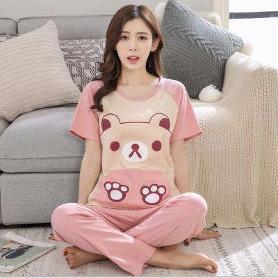 Pajamas female summer pants short clothes female summer cotton suit short sleeves fresh lovely girls can wear home clothes