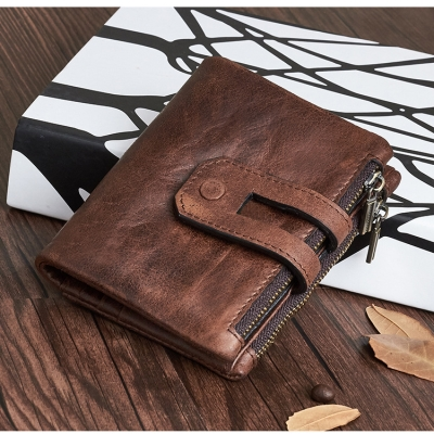 2020 new double zipper three fold Wallet mens short soft face wallet oil wax leather leisure wear-resistant small hand bag