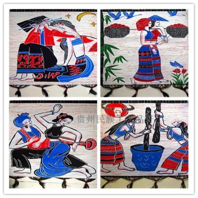 蜡染装饰画民族风布艺少数民族特色工艺品手工加厚苗族双层印染画