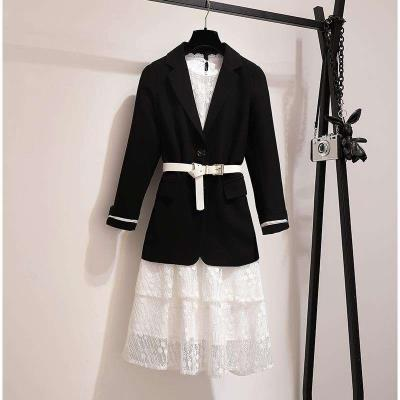 Suit suit spring dress in 2019 new Korean womens lace dress with beautiful waist two piece suit skirt