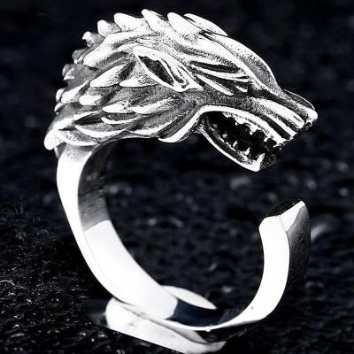 The game of power stark ice wolf ring male trendy personality domineering titanium steel single ring ice and fire song