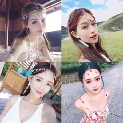 Sweet and retro ethnic headdress hair ornament famous ethnic style forehead decoration Yunnan head chain tourism multilayer Bohemian net red
