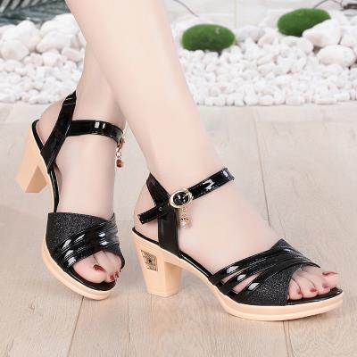 Creative sandals womens new summer 2019 thick heel comfortable middle-aged womens sandals high heel temperament mom