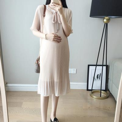 Pregnant womens dress professional straight tube leaky shoulder thickened dress