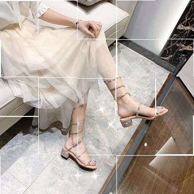 Snakewrap sandals high heels 2020 summer new fashion sandals womens ring feet shining diamond string around the middle heel.