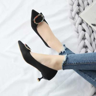 Low heel 3-point bow high heel shoes thin heel light mouth black work suede cat heel womens work single shoes