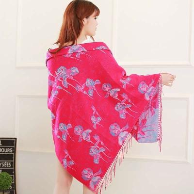 民族风大方巾正方形披肩女秋冬西藏丽江旅游超大加厚保暖两用围巾